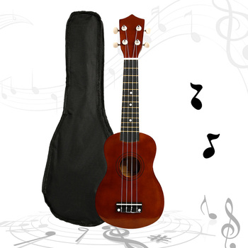 21 Inch Basswood Ukulele 4 Strings Brown Hawaiian Guitar Soprano  Sapele Musical Instruments Family Entertainment rosefinch 23 inch soprano ukulele guitar mahogany sapele wood rosewood 4 strings hawaiian mini guitar for beginner uk101