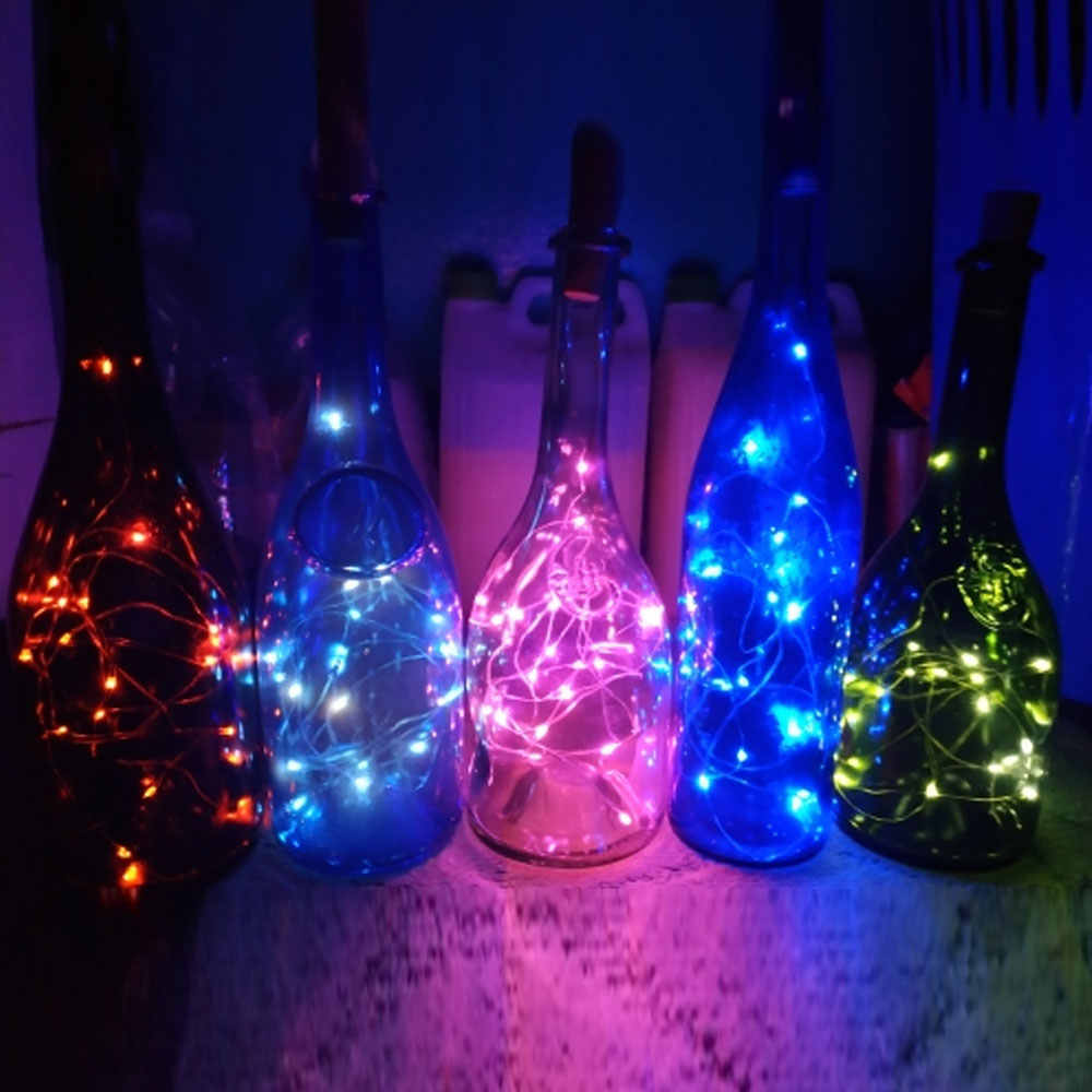 1M 10Led 2M 20Led ไวน์ LED String Light Cork ขวดไวน์ Stopper Fairy โคมไฟคริสต์มาส party Decor LR44 แบตเตอรี่