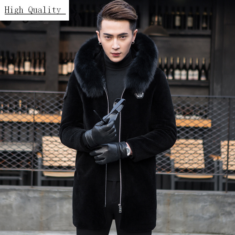 Winter Coat Men Fashion Thick Warm Real Fur Coat Large Fox Fur Hooded Clothes 2020 Long Sheep Shearling Jacket Hiver 006