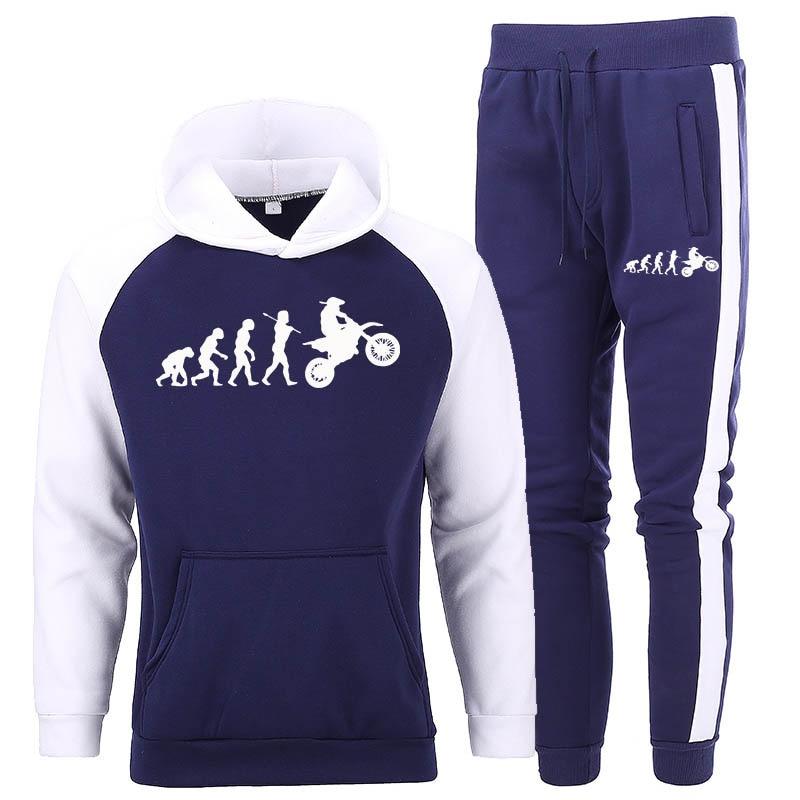 Dirtbike Evolution Motocross Sport Suits Hoodies+Pants Streetwear Sweatshirts Tracksuit Men Spring Autumn Fleece Warm Sportswear