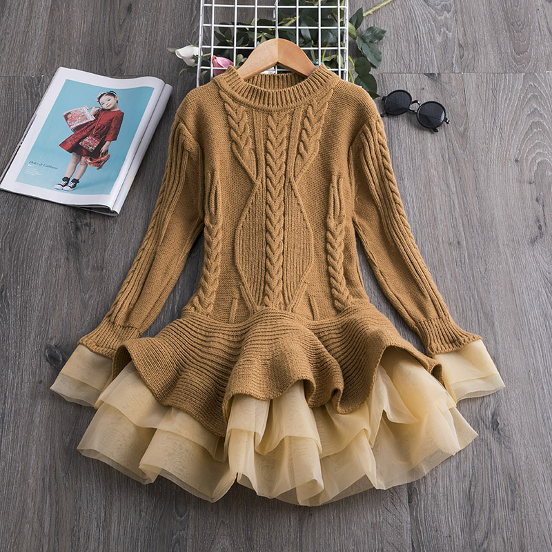 H134900faf4124643acb521e4ff5c4e48j 2019 Winter Knitted Chiffon Girl Dress Christmas Party Long Sleeve Children Clothes Kids Dresses For Girls New Year Clothing