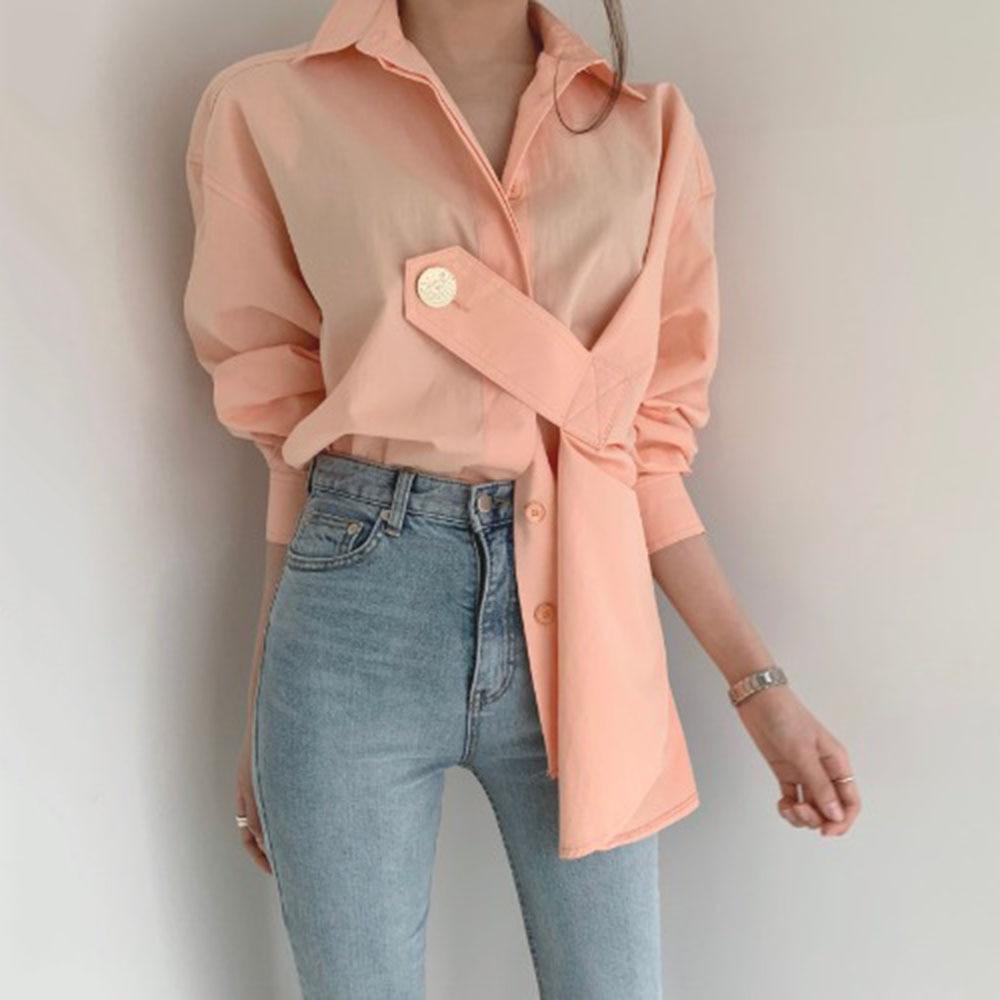 Spring Long Sleeve Shirts Women 2020 Korean Designer Fashion Office Ladies Elegant Solid Chic Blouse Causal Female Tops Pink