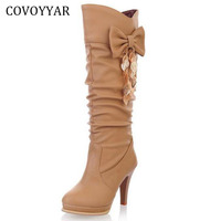 COVOYYAR 2019 Elegant Bow Women's Boots Leaf Metal Decor Spike High Heels Pleated White Winter Boot Autumn Women Shoes WBS625