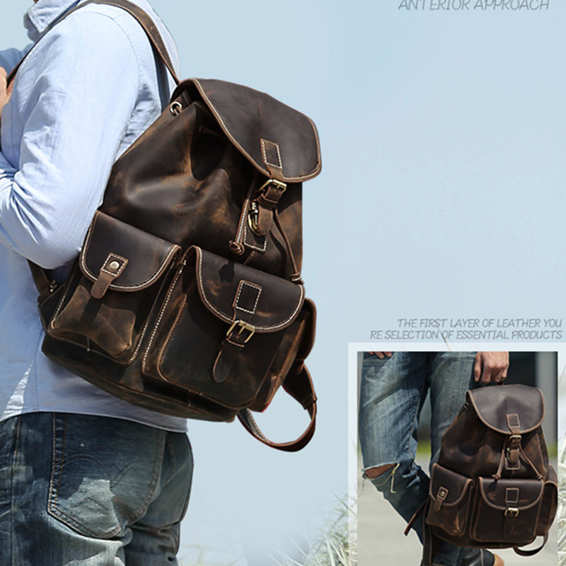 New Vintage Women/'s Genuine Crazy Horse Cow Leather Backpack Travel Bag HandBag