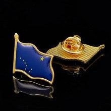 Broche de bandera de Alaska, insignia de bandera bañada en oro, joyería, alfileres de solapa
