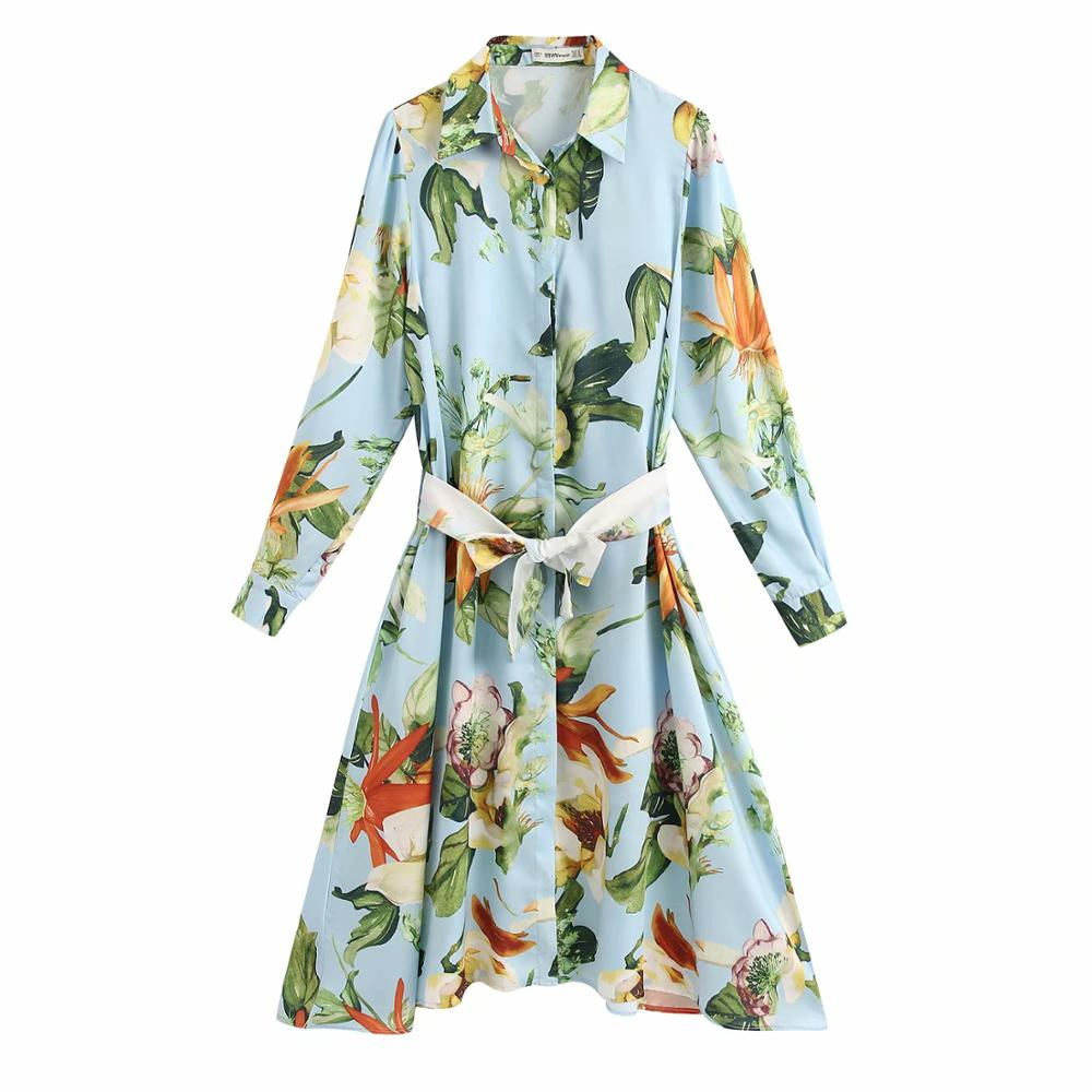 New Women Elegant Flower Print Bow Tie Sashes Shirtdress Ladies Stylish Long Sleeve Business Vestidos Chic Kneeth Dresses DS3380