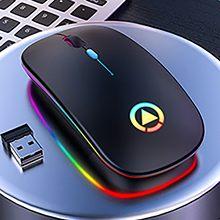 Беспроводная оптическая мышь, 2,4 ГГц, USB перезаряжаемая игровая мышь 1600DPI RGB для ПК, ноутбука, компьютера, мышь с низким уровнем шума