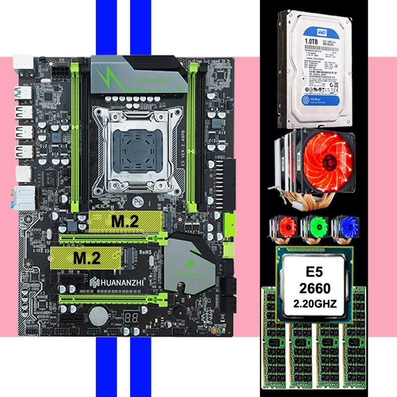 HUANAN ZHI X79 LGA2011 Discount Motherboard With M.2 Slot CPU Xeon E5 2660 SROKK With Cooler RAM 32G 1600 RECC 3.5' SATA 1TB HDD