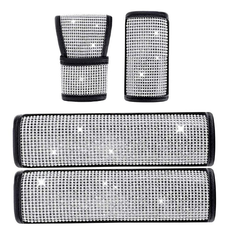 4PCS Crystal Rhinestone Car Accessories for Women Shift Gear Cover Auto Handbrake Cover for Car Interior Accessories