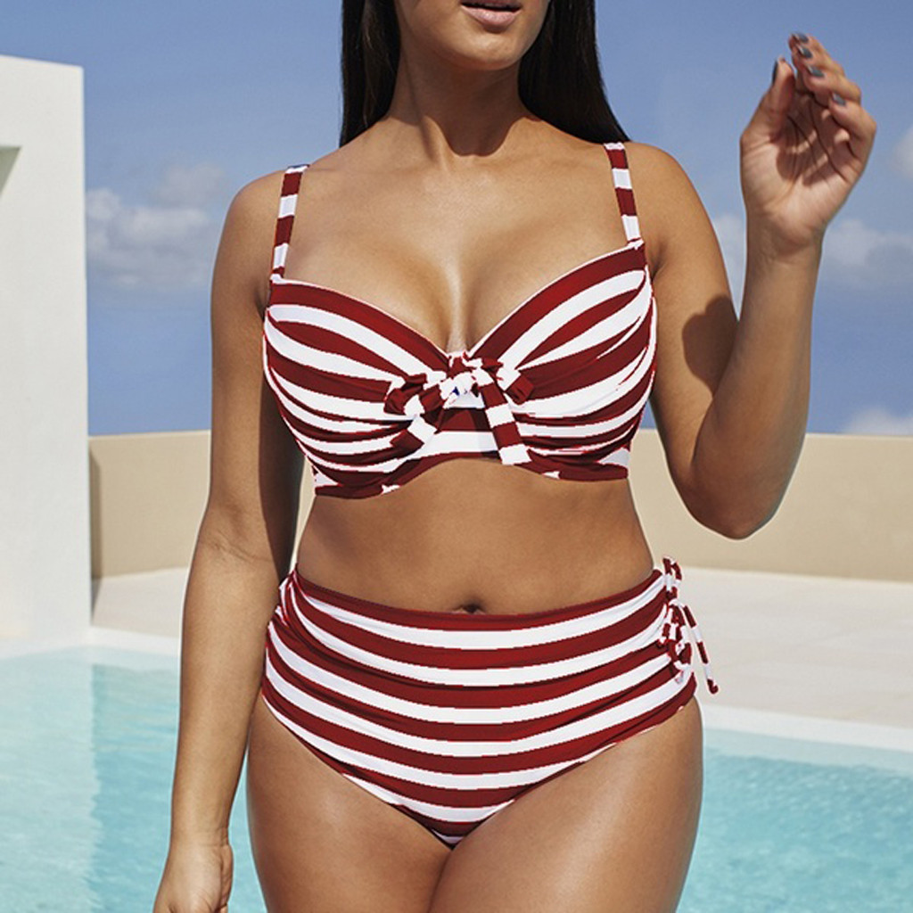 Plus Size Striped High Waisted Bikini