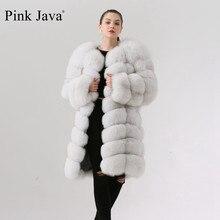 Abrigo de piel auténtica de zorro rosa para mujer, chaqueta de abrigo de piel auténtica de zorro Rosa QC1885, chaleco largo de 90cm, abrigo cálido de Invierno para mujer, Envío Gratis
