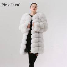 ורוד java QC1885 חדש הגעה באיכות גבוהה אמיתי שועל פרווה מעיל מעיל 90cm ארוך אפוד נשים חורף חם מעיל משלוח חינם