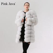 Różowy java QC1885 NEW arrival wysokiej jakości prawdziwe futro z lisów kurtka 90cm długi kamizelka kobiety zimowy ciepły płaszcz darmowa wysyłka