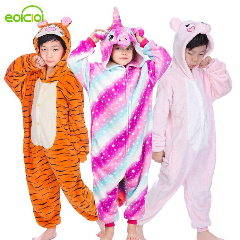Children Boys Girls Animal Pajamas Set Kids Unicorn Pegasus Stitch Sleepwear Winter Hooded Pyjamas Cute Christmas Homewear