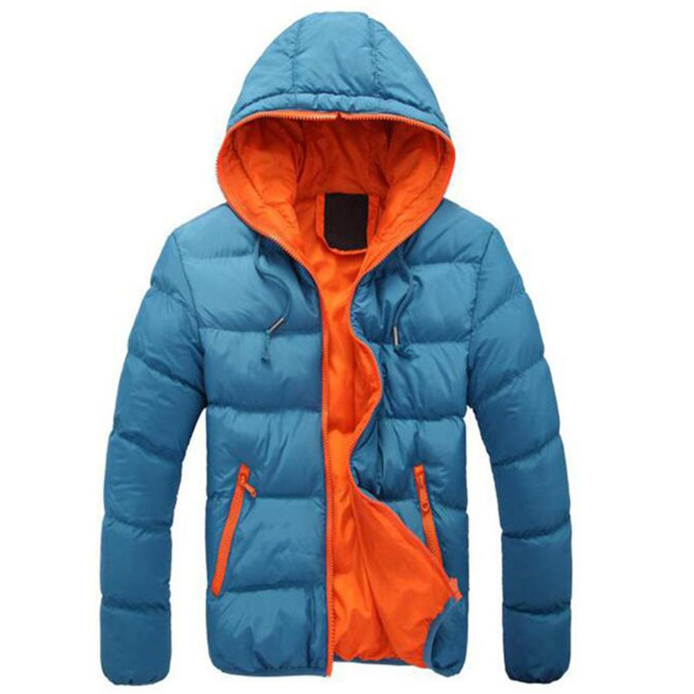 Fashion Winter Men Jacket Coat Color Block Zipper Hooded Cotton Padded Coat Warm Thicken Outwear Jacket Plus Size куртка