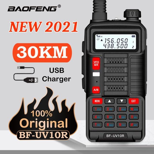 2021 Baofeng New Professional Walkie Talkie UV 10R 30km 128 Channels VHF UHF Dual Band Two Way CB Ham Radio Baofeng UV-10R