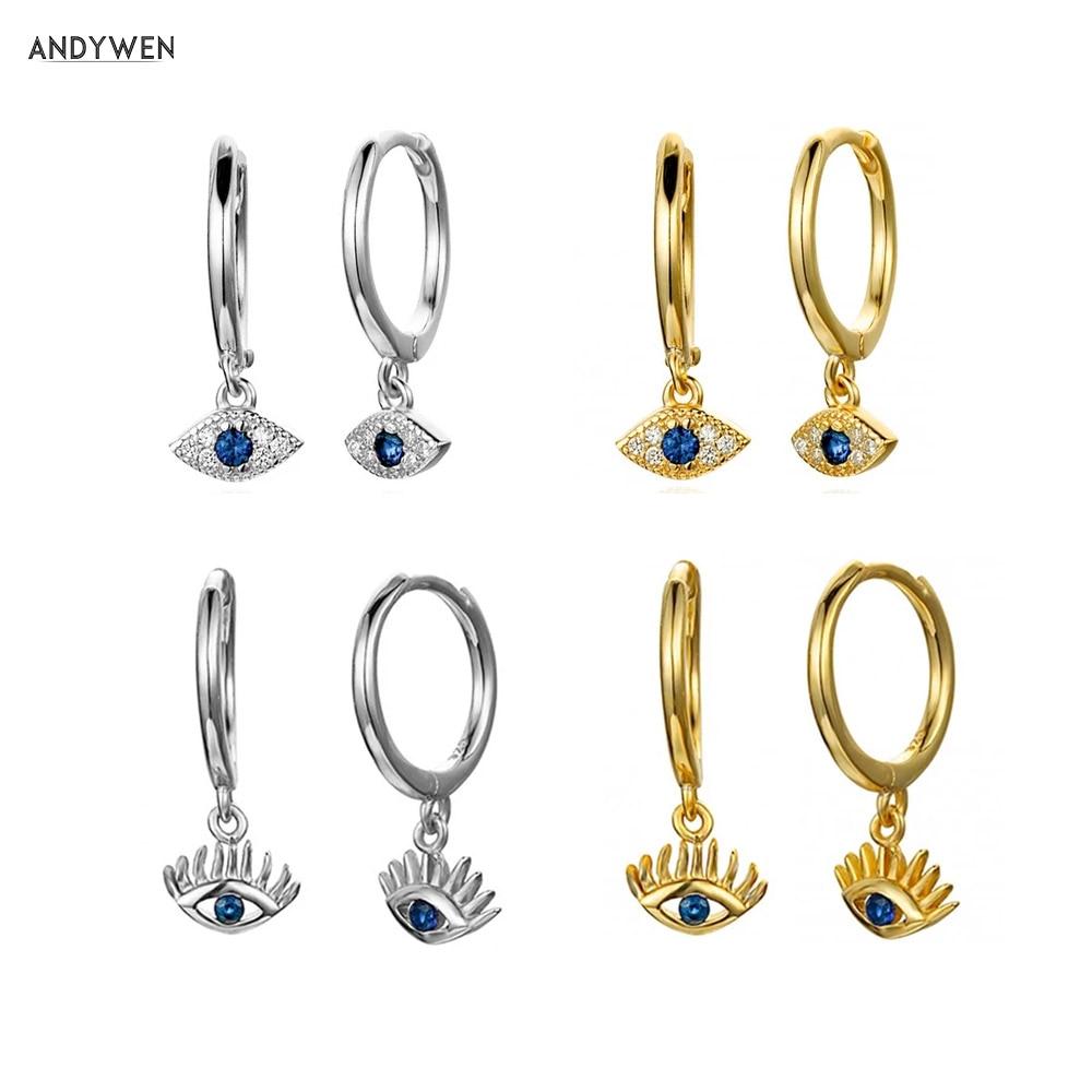 Kikichicc 925 Sterling Silver Blue Eye Drop Earring Crystal Lucky Eye Circle Women Rock Punk Best Gift Wedding Loops Jewelry