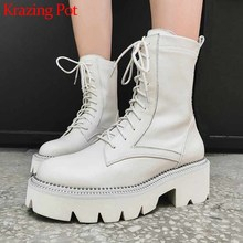Krazing Pot hot thick bottom rivets genuine leather boots round toe lace up campus women winter solid fashion ankle boots L1f1