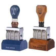 Tampon dateur en bois pour bricolage Scrapbooking artisanat décor roue à roulettes approvisionnement Vintage