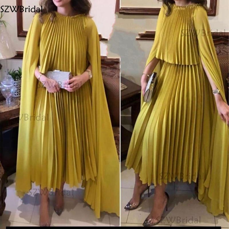 Celebrity Dresses Evening-Gowns Satin Dubai Arabic Gold Plus-Size Women New-Arrival