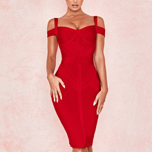 цена на Strapless Close Bandage Skirt Sexy Red Evening Party Full Dress fashion woman clothes