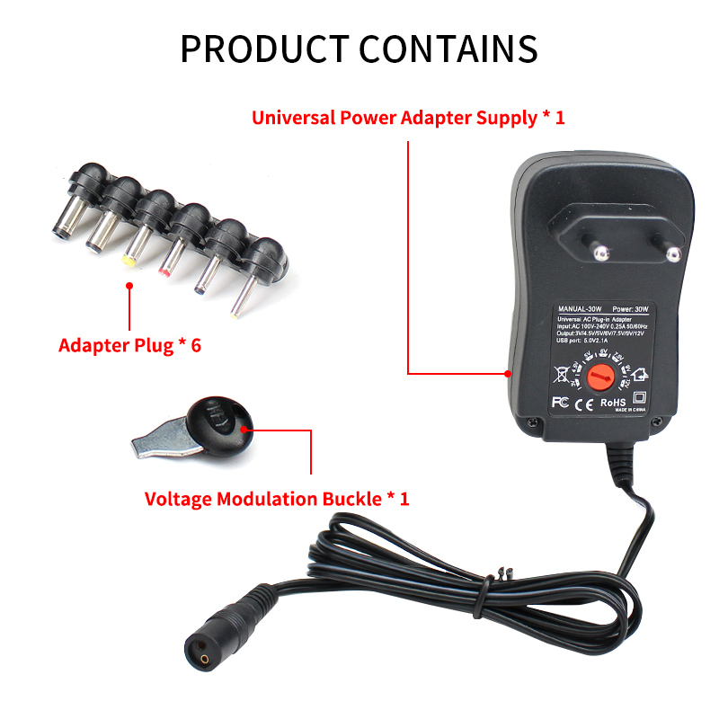<font><b>AC</b></font> DC Adjustable Power Supply <font><b>Adapter</b></font> 220V TO 12V 3V 5V 6V 9V 30W Universal Power <font><b>Adapter</b></font> Supply 220V TO 12V 3V 5V 6V 9V EU US image