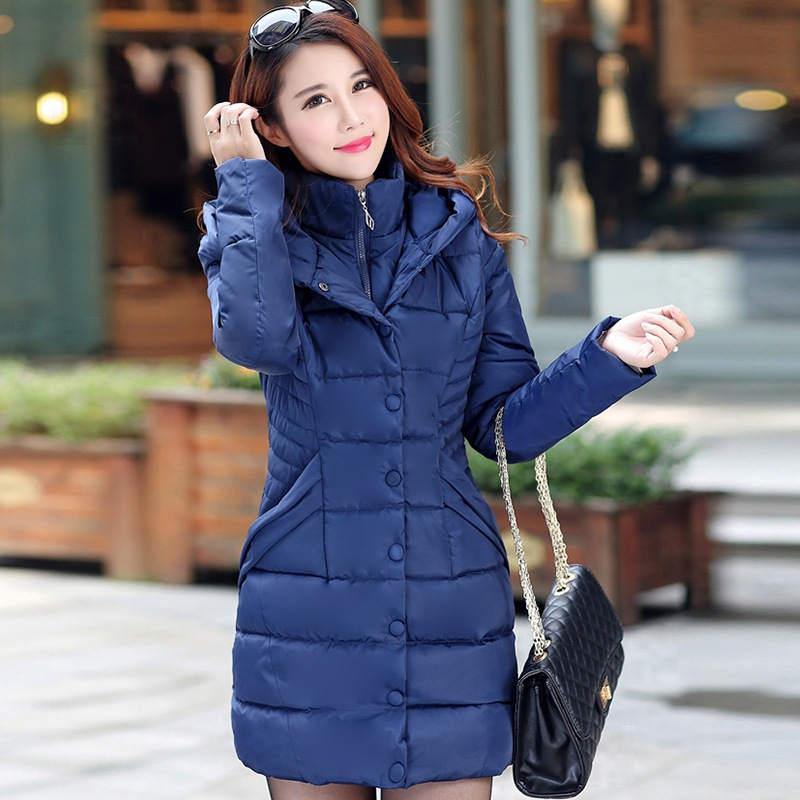 Plus Size 3XL Thicken Winter   Parkas   Hooded Down Cotton Winter Jacket Women Warm Overcoat Long Winter Coats Chaqueta Mujer C5730
