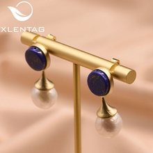 XlentAg Natural Baroque Pearl Round Lapis Lazuli Earrings For Women Drop Fine Jewelry boucle doreille femme GE0692