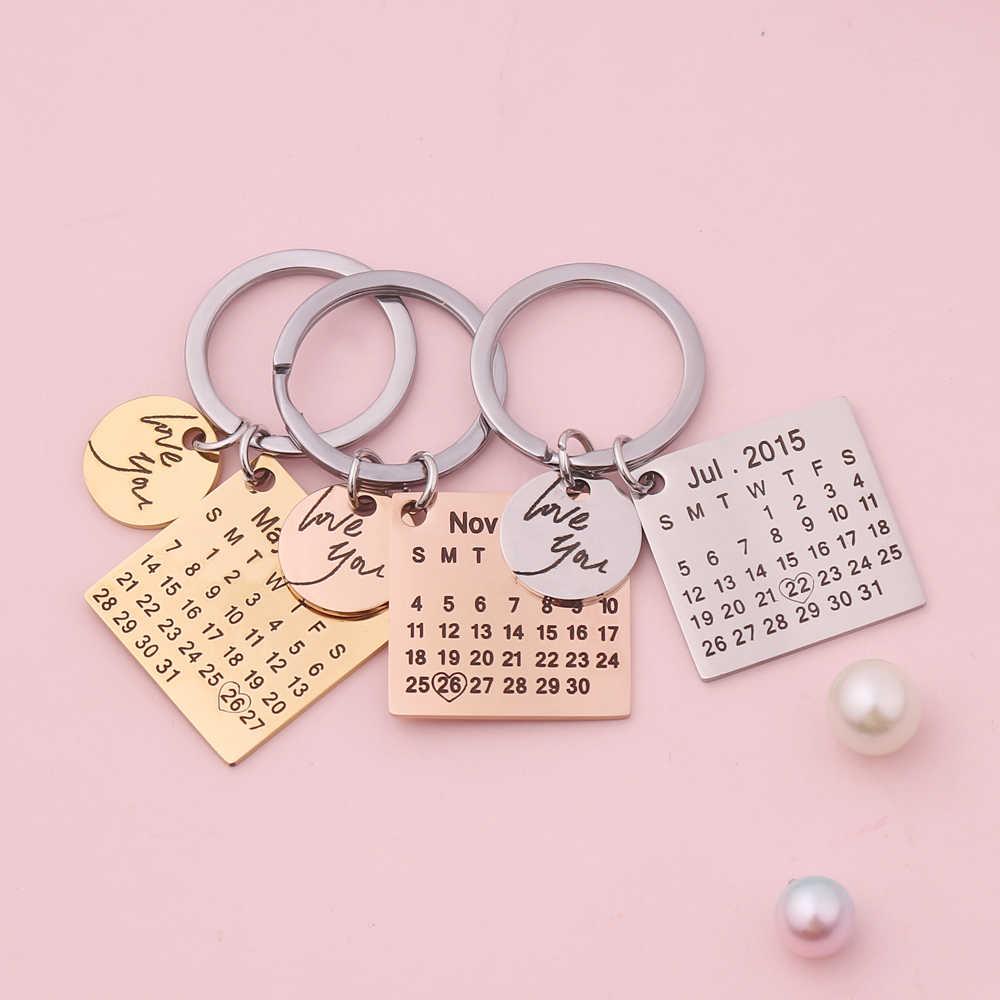 Nuevo llavero de moda personalizado llavero calendario llaveros pareja llavero novio novia joyería amante regalo Envío Directo