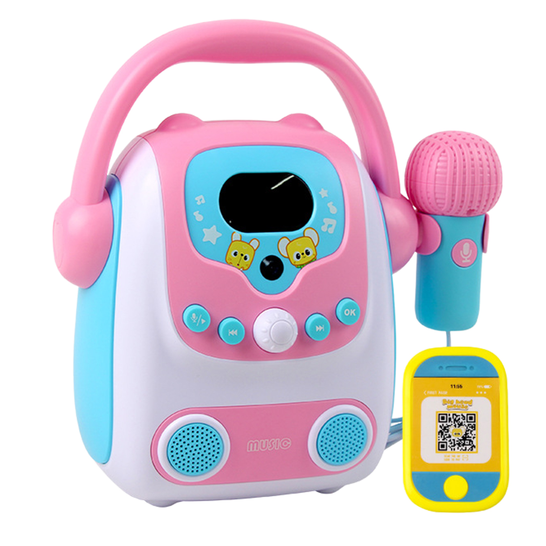 Microphone Karaoke Bluetooth Speaker Toy Portable Karaoke Machine Developmental Music Educational Toys For Kids Gift - Pink Blue