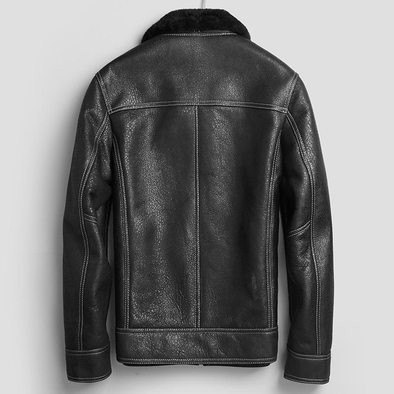 Real Fur Coat Men Winter Genuine Leather Jacket Sheepskin Coat 100% Wool Lining Real Leather Jackets 71E26A KJ2419
