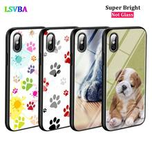 Black Cover Cute Dog Paw for iPhone X XR XS Max for iPhone 8 7 6 6S Plus 5S 5 SE Super Bright Glossy Phone Case black cover japanese art for iphone x xr xs max for iphone 8 7 6 6s plus 5s 5 se super bright glossy phone case