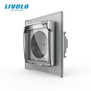 Image 5 - Livolo האיחוד האירופי תקן שקע חשמל, לבן זכוכית פנל, AC 110 ~ 250V 16A קיר שקע חשמל עם עמיד למים כיסוי C7C1EUWF 11