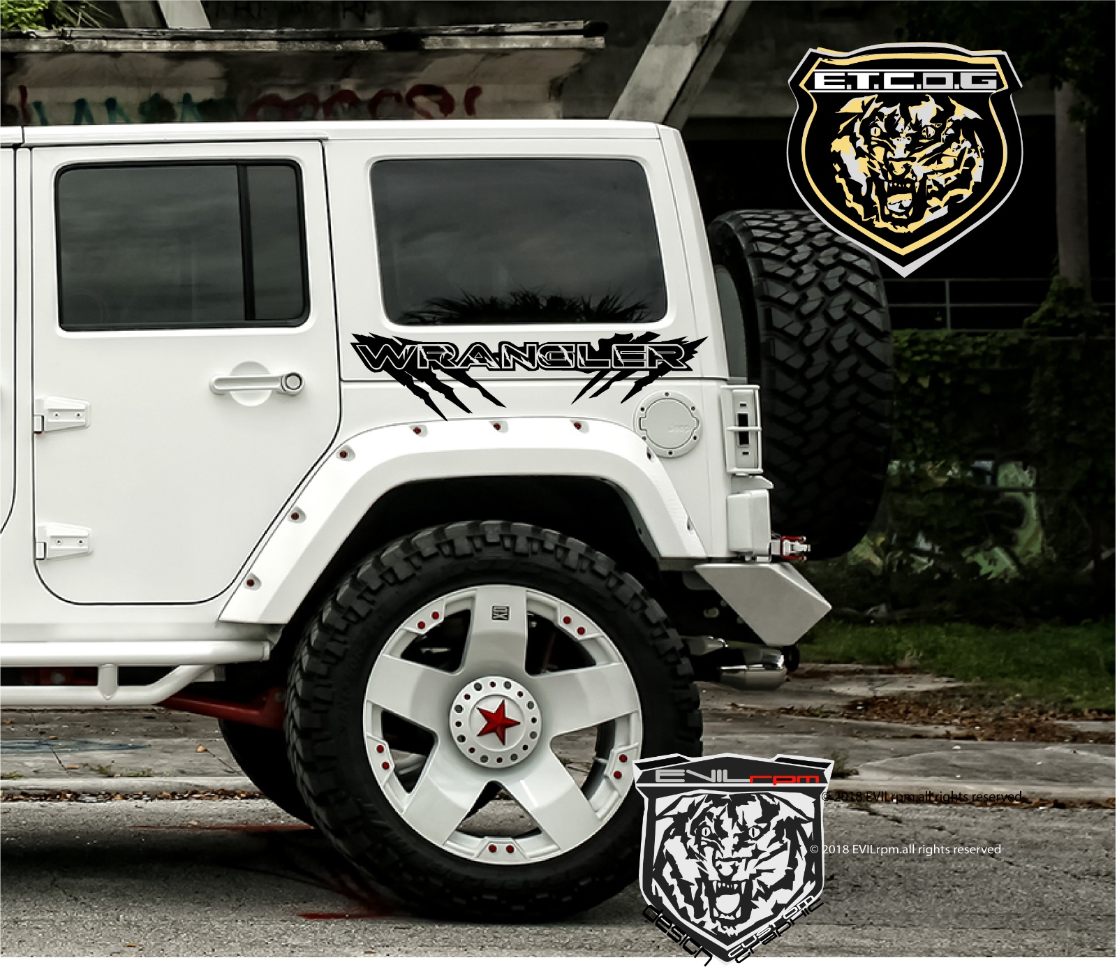 Jeep Wrangler UNLIMITED vinyl graphic decal sticker set