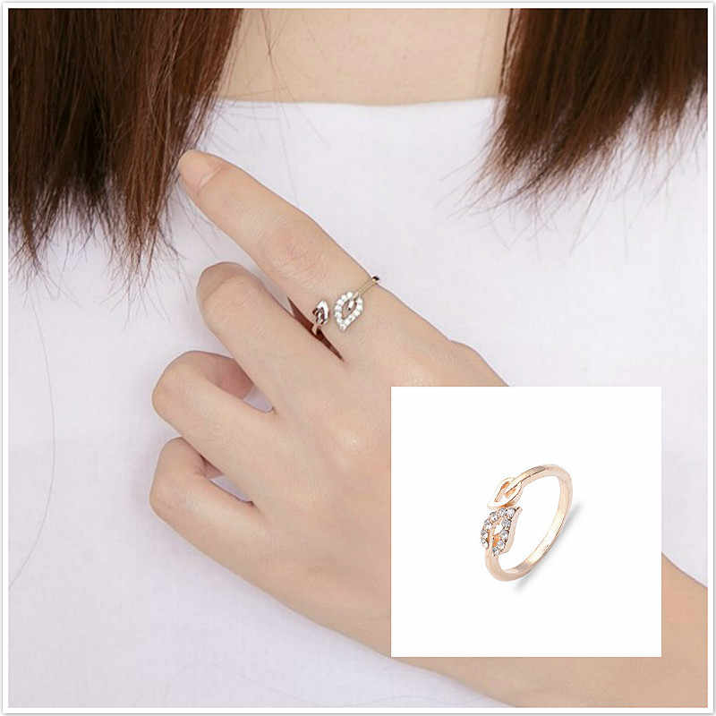 New Hot Fashion Alloy Heart Resizable Rings for Lovers' Valentine's Gift Jewelry