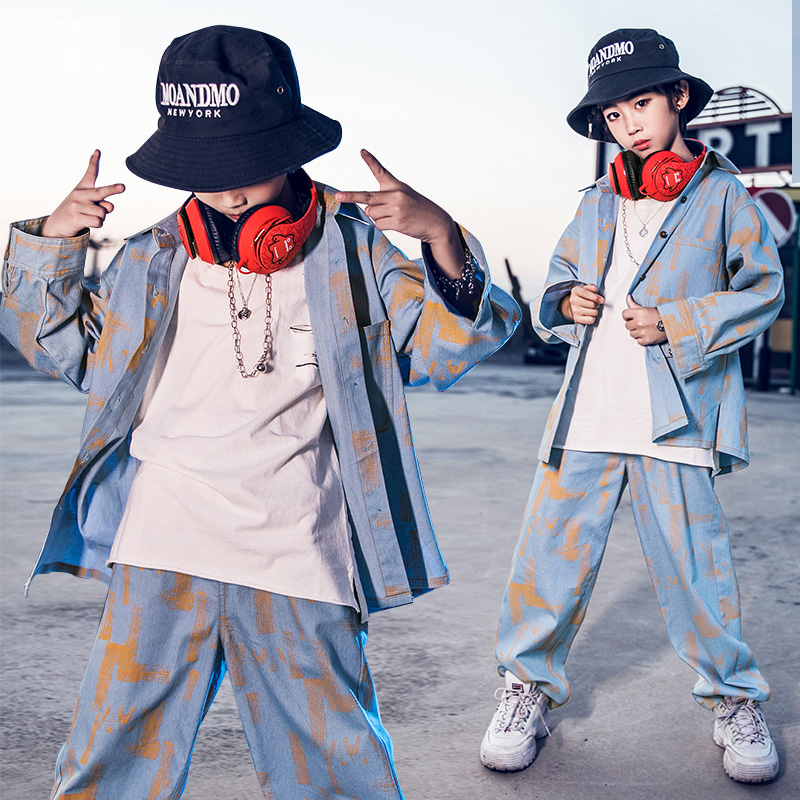 2019 Jazz Dance Costume Childrens Hip Hop Clothing For Boys Stage Show Wear Hiphop Kids Street Dance Performance Clothes DQS3181