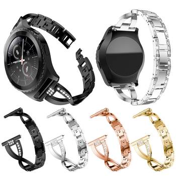 20MM Luxury Crystal Stainless Steel Strap for Garmin Vivoactive 3/Samsung Gear Sport S2 Galaxy 42mm Active 2 Watch Band Bracelet 20mm strap for samsung galaxy watch active galaxy watch 42mm gear s2 band stainless steel replacement crystal women wristband