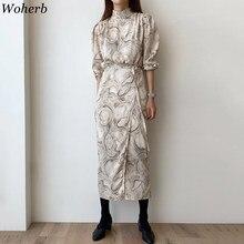 Woherb – Robe longue à manches longues pour femmes, élégante, coréenne, printemps, 2020