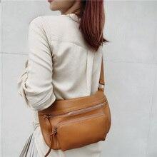 Shoulder-Bag Hobos Crossbody-Purse Bussiness-Handbag Genuine-Leather Fashion Women Soft