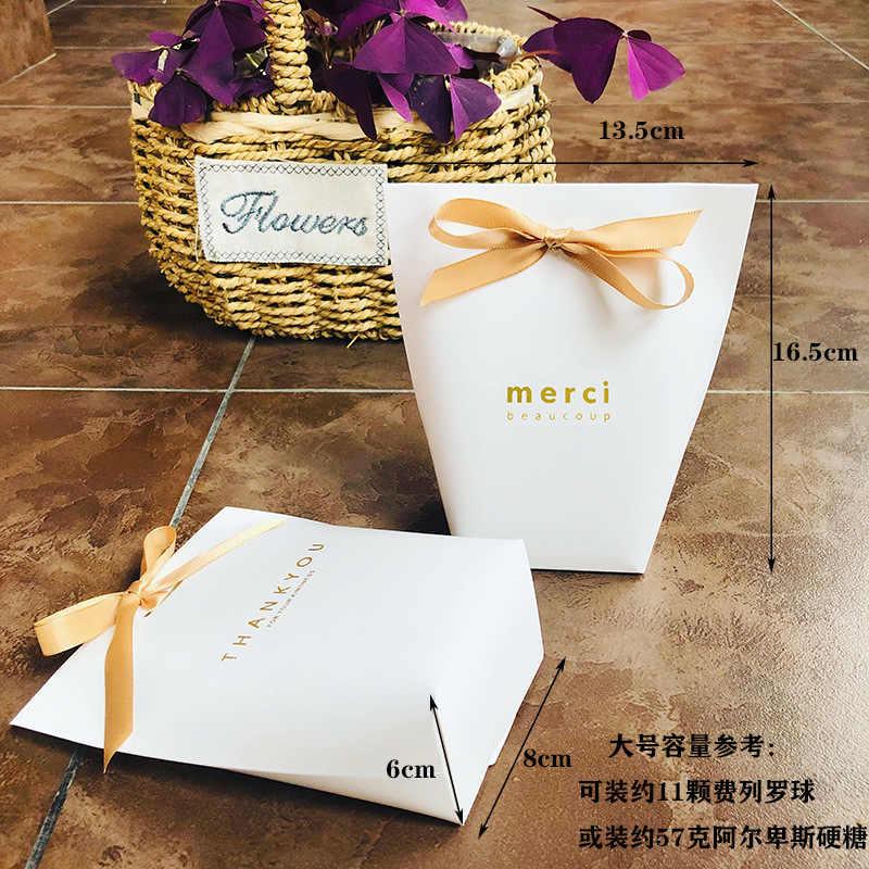 """10 шт высококлассные черные белые бронзовые """"Мерси"""" конфеты мешок французский спасибо свадебный подарок коробка пакет день рождения любимые пакеты"""