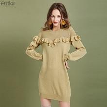цены ARTKA 2019 Autumn Winter New Women Sweater Dresses Elegant Ruffled Knitted Wool Sweater Dress O-Neck Long Sweater Dress LB10098Q