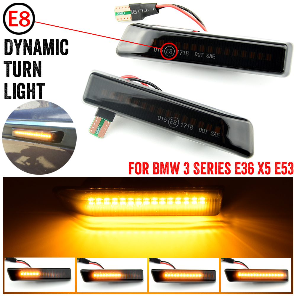 Car Front Wing Smoke Lens Dynamic <font><b>LED</b></font> Side Marker Repeater Indicator Light 63132492179 63137164491 For BMW X5 E53 <font><b>E36</b></font> image