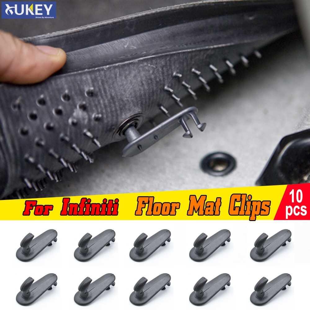 10 pçs esteira do assoalho do carro clipes fixação ganchos suportes grampos fanfarrão apertos para infiniti g37 i35 qx4 ex35 g35 m45 retentor de retenção do tapete