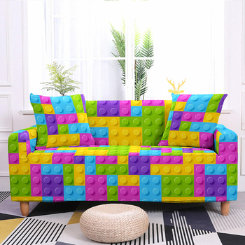 Colorful Block Pattern Elastic Slipcovers Sofa Universal Sofa Cover Stretch Sectional Couch Cover Sofa Cover For Living Room 7