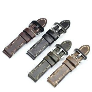 Image 3 - PSTARY Holwin Horween Chromexcel lśniący połysk skórzany pasek 20mm 22mm 24MM męski zegarek wojskowy pasek