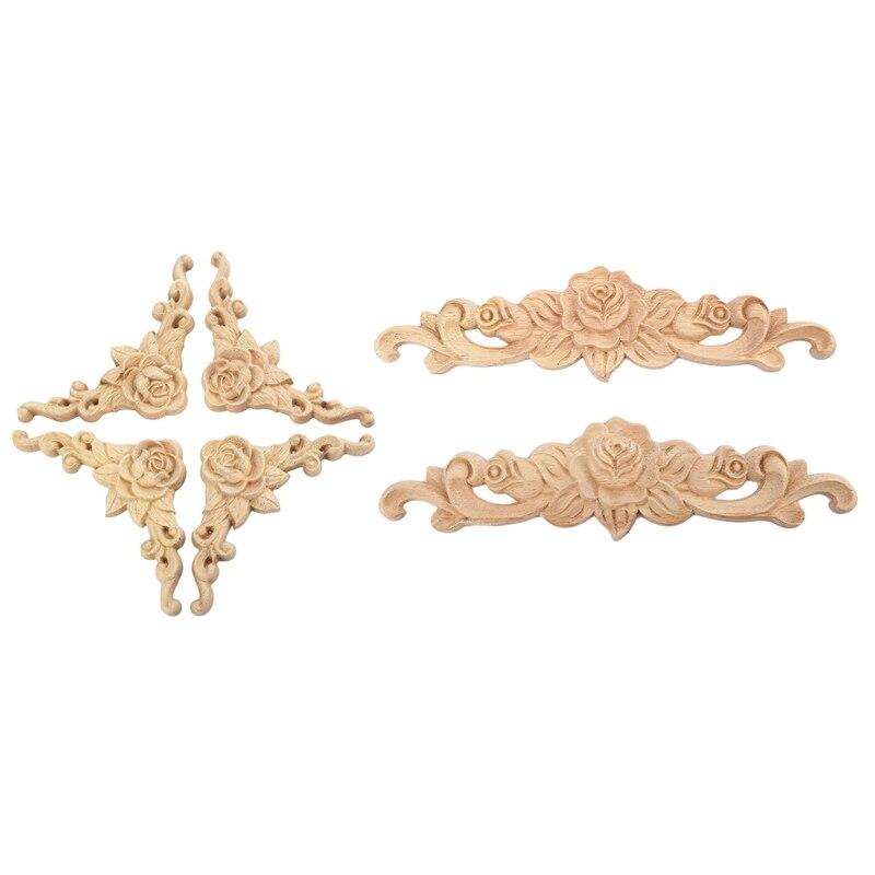 6Pcs Wood Carved Onlay Applique Unpainted Rose Flower Door Home Decor European Style, 4Pcs 8x8Cm & 2Pcs 20x5Cm