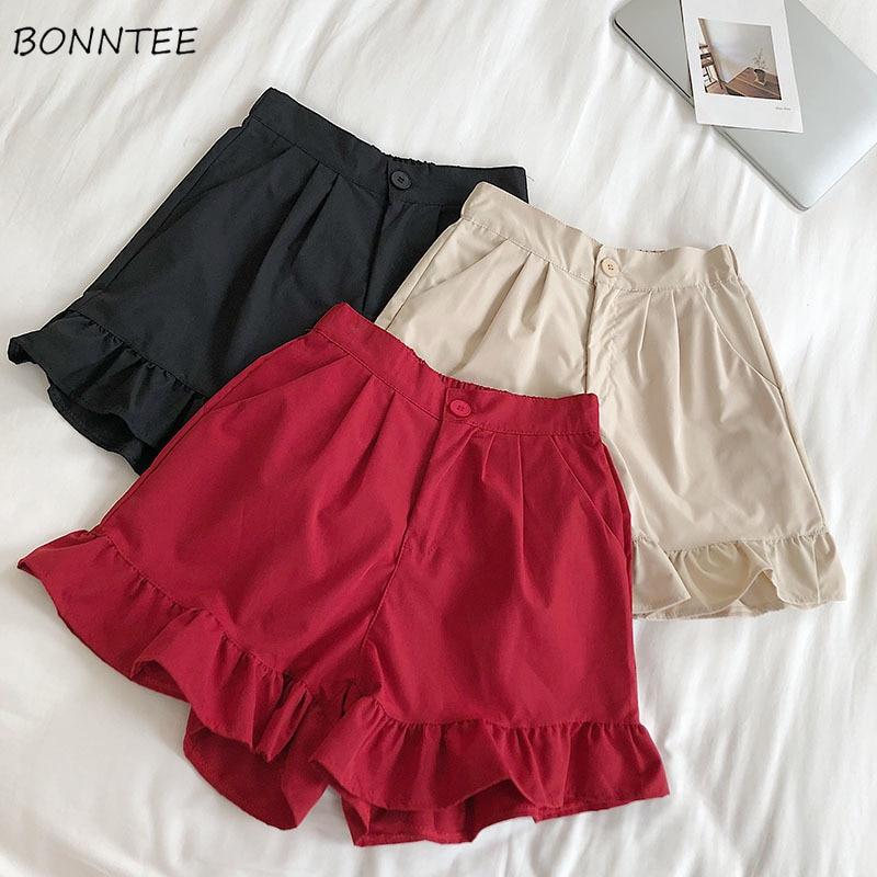 Shorts Women Summer Trendy All-match Sweet Solid Ruffles Womens Single Button Zipper Elegant Ladies Slim Casual Breathable Soft