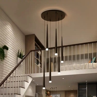 LED chandelier long tube lamp kitchen island dining room decoration conical tube chandelier staircase chandelier bedroom lamp