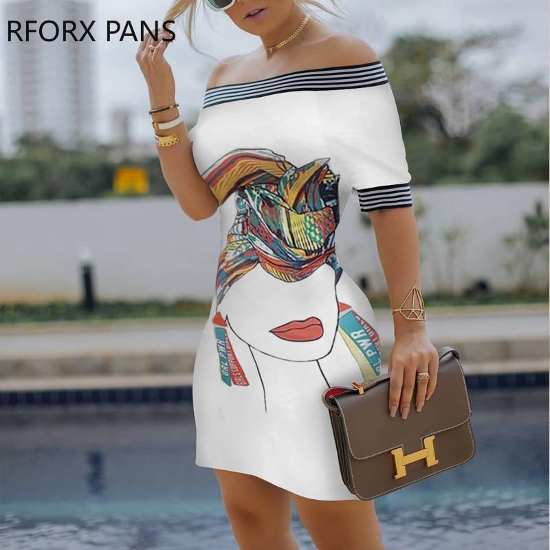 Women Figure Print Striped Tape Bodycon Dress Casual Dress Elegant Fashion Chic Dress