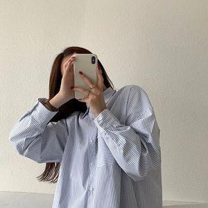 EBAIHUI голубые Полосатые Рубашки, Топы в стиле преппи Ofiice, женские модные Осенние блузки с длинным рукавом, повседневные винтажные рубашки на пуговицах|Рубашки|   | АлиЭкспресс
